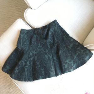 Zara Green and Black Royal Skirt